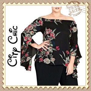 City Chic Black Floral Off Shoulder Top